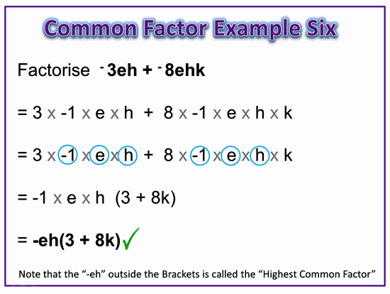Factorising Greatest Common Factor 12