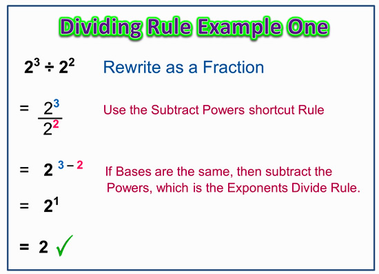 Dividing Exponents Indices Quotient Rule