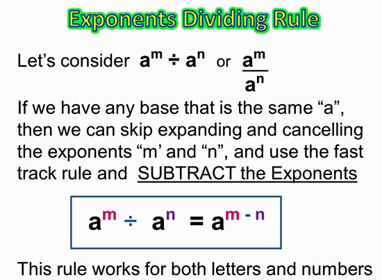 Dividing Exponents Quotient Rule