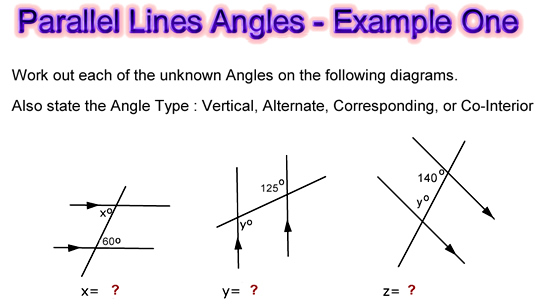 Parallel Lines Angles Examples One
