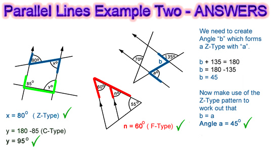 Parallel Lines Angles Example Two Solutions