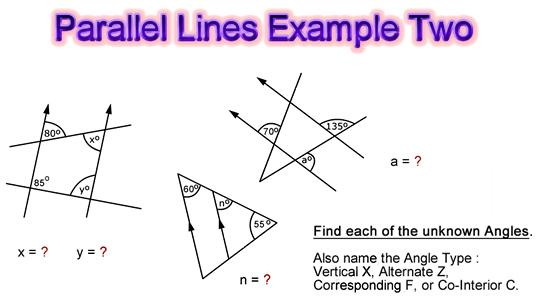 Parallel Lines Angles Examples Two