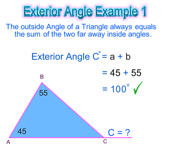Exterior angle of a triangle passy 39 s world of mathematics What do exterior angles of a triangle add up to