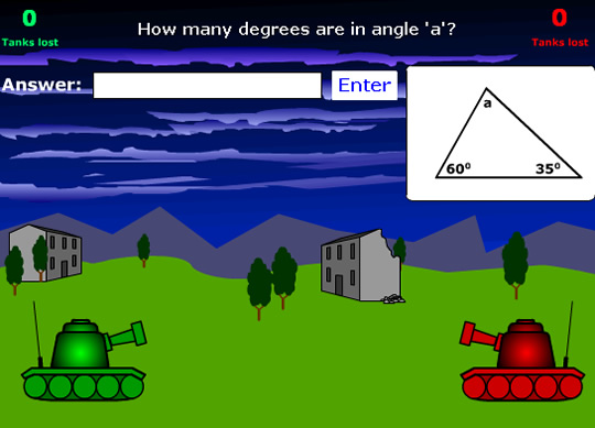 Tank Attack Angles in Triangles Game