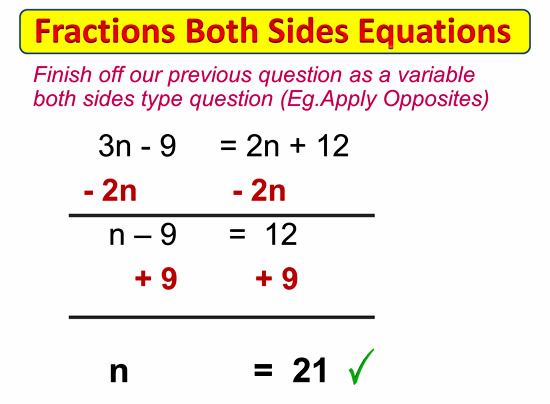 Fractions on Both Sides Equations – Solve Equations with Variables on Both Sides Worksheet