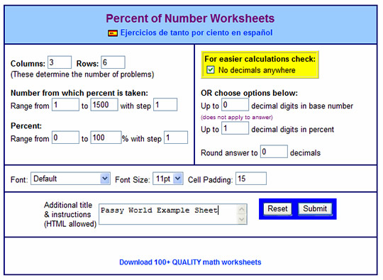 Percentage of Amount Using Fractions – Percentage Worksheet