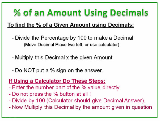 Percentage Decimals Amounts Working Steps
