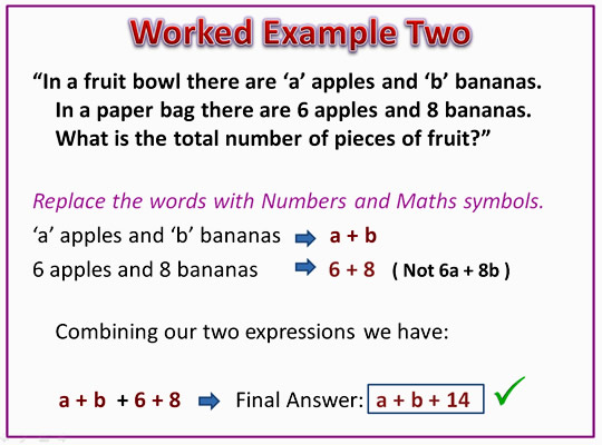 Algebra Expressions Example Two