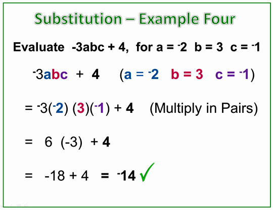 Algebra Expressions Negatives Example Four