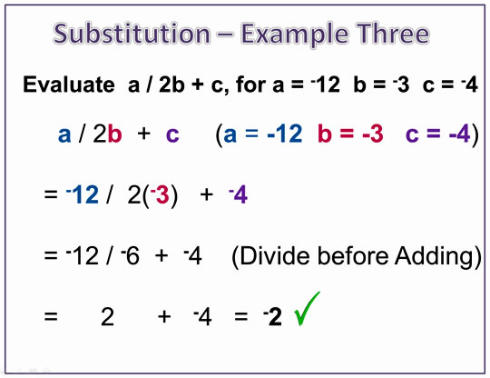 Algebra Expressions Negatives Example Three