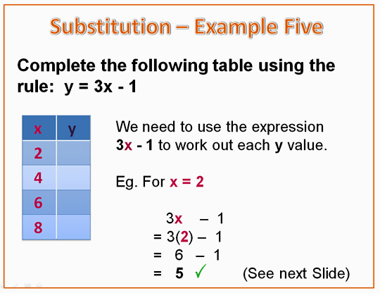 Algebra Substitution Example 5A