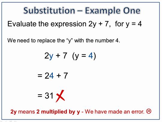 Algebra Substitution Example 1 Incorrect