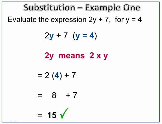 Math Examples Algebra Algebra Substitution Example 1