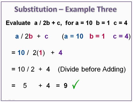 Algebra Substitution Example 3