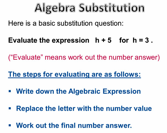 Algebra Substitution Steps