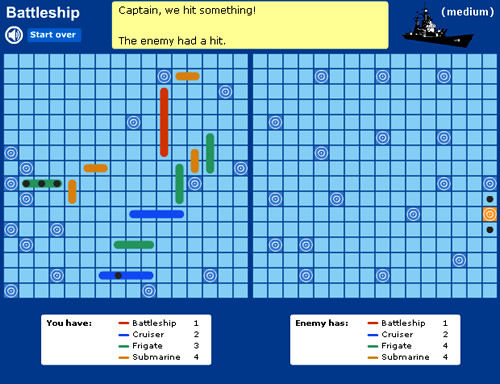 Battleships Exponents Game