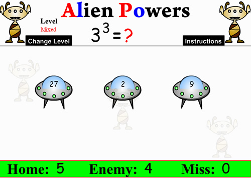 Exponents Alien Game