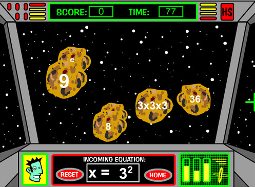 Exponents Asteroids Game