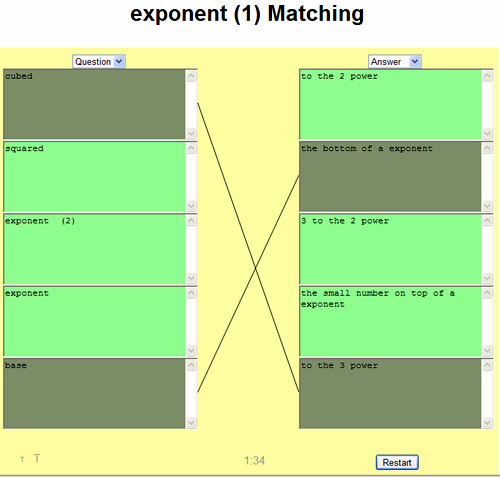 Exponents Matching Game