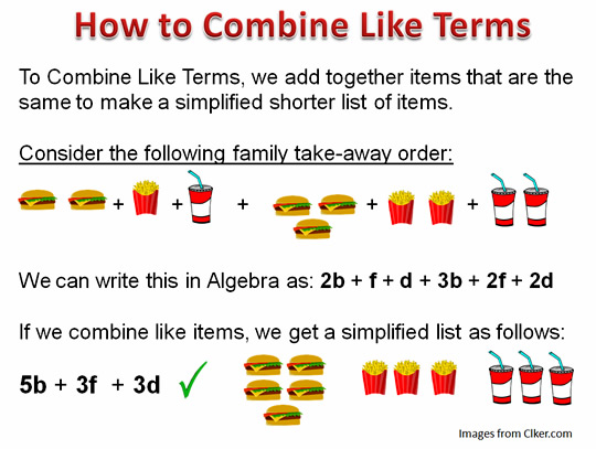 Worksheet Combining Like Terms Worksheet combining like terms passys world of mathematics algebra eight