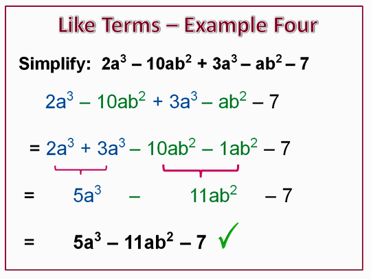 Algebra Like Terms Example 4