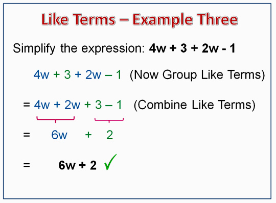 Algebra Like Terms Example 3