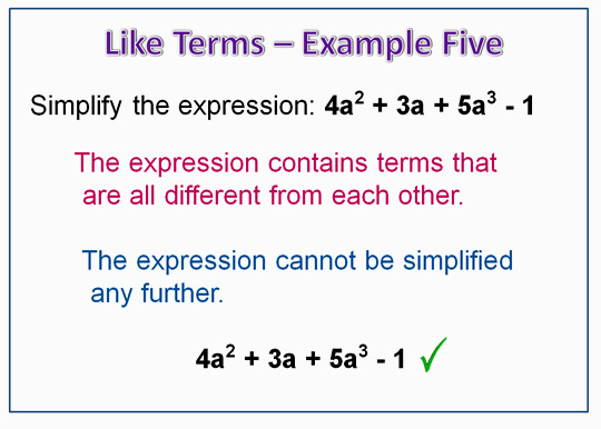 Algebra Like Terms Example 5