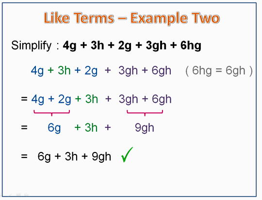 Algebra Like Terms Example 2