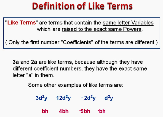 Algebra Like Terms Two