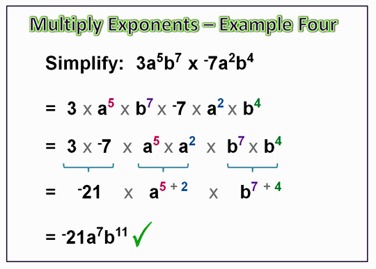 Algebra Multiplying Exponents 11