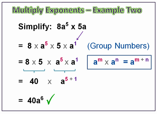 Algebra Multiplying Exponents 9